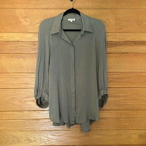 Umgee ruffle back olive green button front top